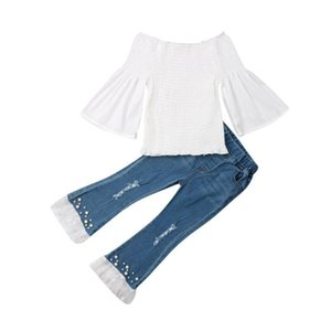 Hot Lovely Toddler Kids Baby Girls Summer Off Shoulder Tops Lace Ruffle Denim Pants Outfits Cute Jumpsuit Outfits Sunsuit