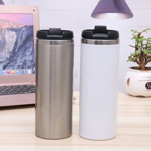 14oz 420ml Blank Sublimation Straight Tumblers Heat Tansfer Coffee Mugs Double Wall Stainless Steel Vacuum Flack Beer Mugs