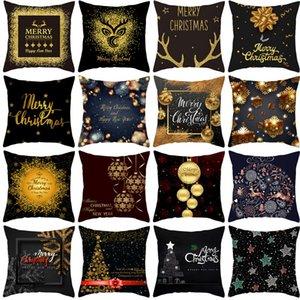 2020 New Black Series Christmas Peach Skin Plush Pillow Cover Sofa Cushion Cover Pillow Cover