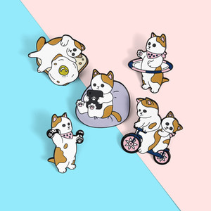 Bike Cat Kawaii Enamel Brooches Pin for Women Fashion Dress Coat Shirt Demin Metal Brooch Pins Badges Promotion Gift 2021 New Design