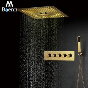 Ti-PVD Oro doccia Sistemi con 16 pollici pioggia doccia a bagno doccia rubinetto LED Set valvola termostatica VASCA Rubinetterie