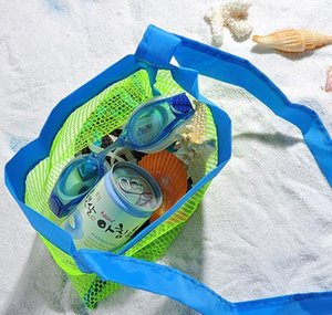 Wholesale- Applied Enduring Children Sand Away Beach Mesh Bag Children Beach Toys Clothes Towel Bag Baby Toy Collection Nappy Folding bbyDc
