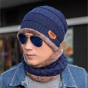 Hecho de mujer y bufanda Fall invierno Chunky Knit Fleece Foreado Gorros Skullies Hombres Snood Shaod Bonnet 2pcs Collar Skullcap WCNHR