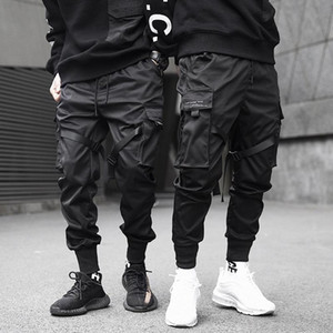 Ribbons Cargo Pants Men Casual Streetwear Harajuku Pants Hip Hop Trendy casual youth slim Stylish Men's Jogger Trousers