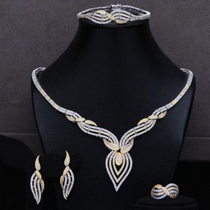 missvikki Nigerian India Russia Bride Wedding Necklace 4PCS Dress Jewelry Set for Women Daily Party Show Cubic Zirconia I9Dk#