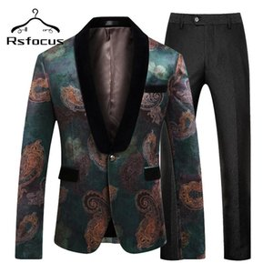 2020 Shawl Collar Black Green Men Suits For Wedding Slim Fit Men's Prom Party Stage Wear Elegant 5XL Mens Suits With Pants TZ315