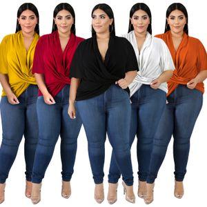 Büyük Beden Kadınlar 2020 Yeni Tişörtlü Gevşek Batı Tarzı Sonbahar Giyim Çapraz Ön Düzensiz tişört Yarasa Kol Tops