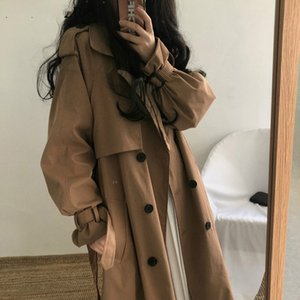 Chic Women Trench Coat Casual Women's Long Outerwear Loose Overcoat with Belt Winter Fashion Double-breasted Windbreaker Femme