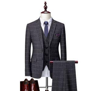 wedding groom suit Foreign Trade New Plaid Men's Business Leisure Suit Korean Slim Wedding Bridegroom Suit Man