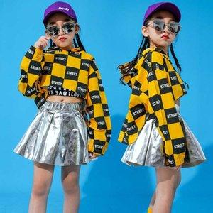 Nouvelles filles Jazz Dance Costume Kids Street Dance Vêtements Jupe Silver pour les tenues de performance Costume HiPhop Ballroom Stage BI202