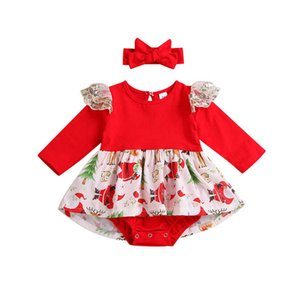 New 2020 autumn winter Christmas baby romper girls dress romper newborn rompers+bows headbands 2pcs set baby girl clothes B2356