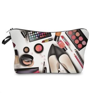 Sapatos Hot Lady Organizador bolsa de armazenamento bolsa de maquiagem Presentes Mulheres Zipped 3D Sombra Batom impressão Viagem Cosmetics Bag FA $ 3