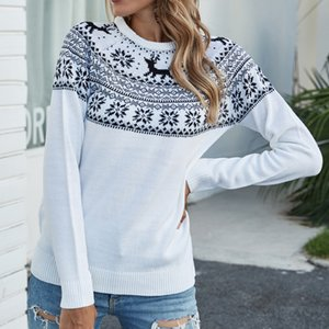 Cross-border European and American Women's Christmas Snowflake Deer Sweater Burst 2020 Autumn winter Round Collar Head Knitted Sweater Girl.