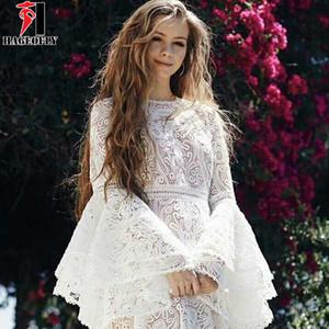 HAGEOFLY Yeni Moda Tasarımcısı Beyaz Pist Elbise Düğün Kadın Flare Kol Basamaklı Ruffles Dantel Elbiseler vestidos