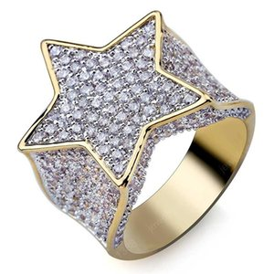 Hip Hop Fashion Star Ring Copper Yellow Gold Plated Bling Iced Out Micro Pave Cubic Zircon Charm Ring for Men Women Gift