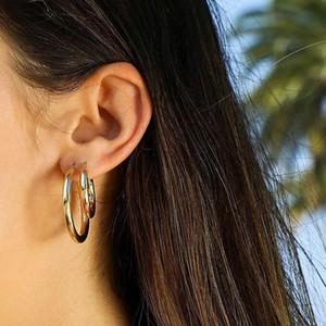 Новый полированный золотой цвет круглые трубки креольские серьги 52 мм готический хип-хоп половина круга обручи серьги подарки для женщин панк ювелирные изделия оптом
