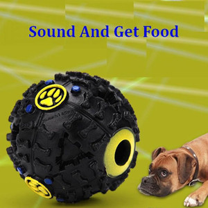 7.5cm Funny Pet Food Dispenser Toy Ball Dog Cat Squeaky Toys Squeaker Quack Sound Rubber Balls For Dogs Puppy Training Supplies 3 Colors