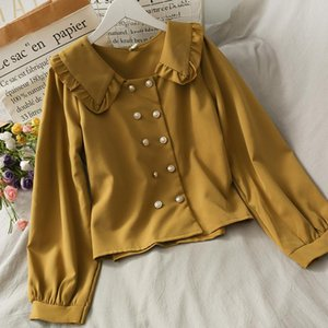 2020 New style loose and thin double-breasted cardigan all-match shirt women's autumn clothes with wooden ear doll collar top