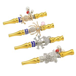 Gold Metal Drip Tips Animal Spider Skull Multi styles Mouthpieces 110mm Golden Ecig Tips With Chain Rhinestone For Mens Womens