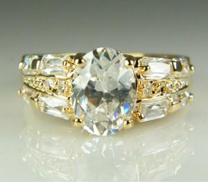 Gioielli d'oro zircone cristallo anelli della pietra preziosa 14K placcato Solitaire anello di fidanzamento da festa di nozze di rame di modo degli anelli