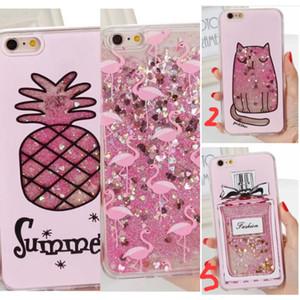 cup Quicksand pineap ple Glitter perfume bottle Liquid flower heart sparkle Flamingo case For phone 7 6 6S plus 7PLUS plating cover