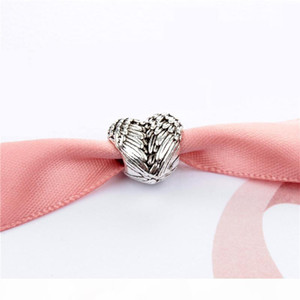 Feather Heart Charm Bead Fashion Women Jewelry Stunning Design European Style Fit For Pandora Bracelet New Arrival