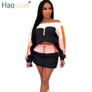 HAOYUAN Two Piece Set Women Summer Mini Dress Off Shoulder Long Sleeve Crop Top and Skirts 2pcs Matching Sets Sexy Club Outfits