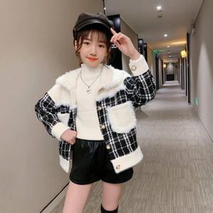 Vestes de haute qualité enfants automne hiver style short style extérieur girl girl vêtements vêtements enfants épaisse laine vêtement d'extérieur manteau