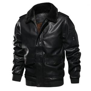 Men Motorcycle PU Leather Jacket Winter Warm Luxury Fleece Retro Coat Fur Collar Biker Bomber Pilot Faux Leather Jacket EuroSize1