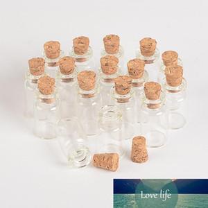 Wholesale- Wholesale 1ml Mini Glass Bottles Vials With Cork Empty Tiny Transparent Glass Bottle Jars 13*24*6mm 100pcs lot Free Shipping