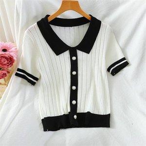 SummR Trap Top Top noir T-shirt Blanc T-shirt Femmes manches courtes Haute Qualité Bouton Perle élégant T-shirt Femme Dropshipping1