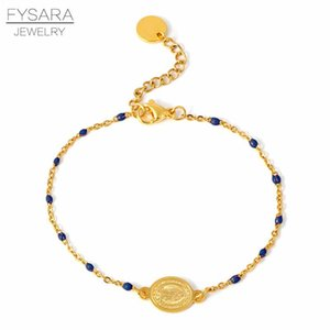 Fysara Bracelet coloré perles Religion charme pour les femmes Jwelry or en acier inoxydable Bacelet Choker chaîne Bnagle Christian bbynWt bdehome