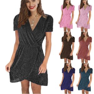 Sequins Dress Fashion Trend Short Sleeve V-neck Ruched Short Skirt Designer Female Casual Club Party Sexy Dresses Ladies Irregular