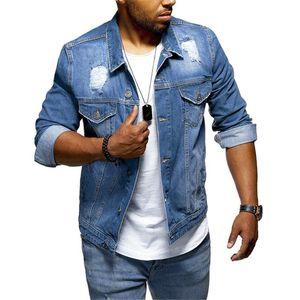 Männerjacke Langarm Loch Revers Pocket Denim Jacke Retro Jeans Jacken Streetwear Casual Denim Mäntel Männer Outwear Slim JAQUETA