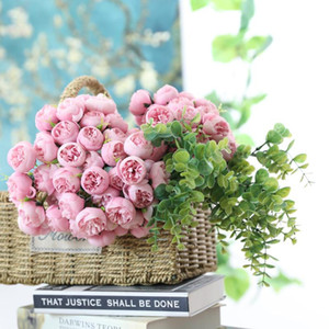 Artificial Rose Flower 27 Heads DIY Fake Dried Flower Home Hotel Table Plants Decor Party Wedding Bride Holding Floral Bouquet