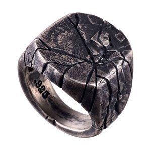 Jewelry men's irregular geometric line crack index finger ring imitation S925 Silver