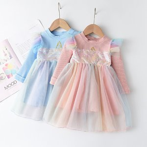 Sweet Girls Unicorn Princess Dress Children Sequins gauze Long Sleeve Dress Kids Rainbow tulle tutu Dress A5654