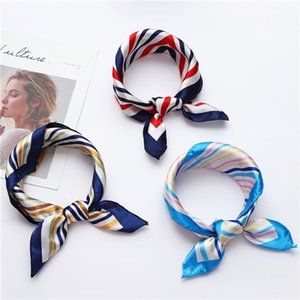 50*50cm Small Silk Scarf Female Korean Version Spring and Autumn Print Hair Band Square Scarf Simulation Silk Small Scarf Headband