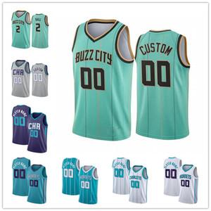 Custom Men's 2 Lamelo Ball Gordon 20 Hayward Devonte '4 Graham Miles 0 Pontes Terry 3 Rozier III Cidade da Teal 2021 Novas jerseys de basquete