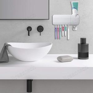 نظيفة ABS حامل فرشاة الأسنان للأشعة فوق البنفسجية USB شحن معجون الأسنان الصيدلي 6 فرشاة الأسنان المطهر حامل يعلق على الحائط مع ملصق للمنزل السفينة حرة