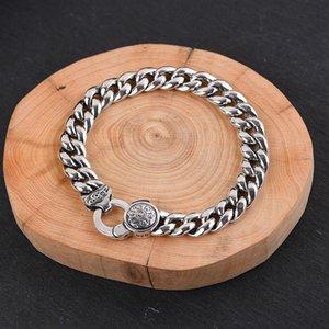Solid стерлингового серебра 925 пробы из шести слов в Sutra буддийский Вращающийся Браслет для женщин Мужчины подарков Vintage Fine Jewelry День рождения Подарки