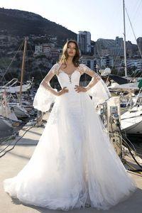 Modest Wedding Dresses With Wrap And Detachable Train Sweetheart Lace Applique Backless Bridal Gowns Custom Made Vestidos De Novia