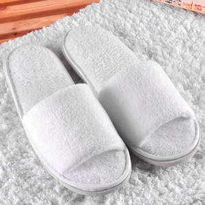 Hotel pure white coral velvet slippers thick soled non disposable home slippers