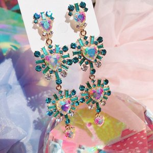 Korean New Hot Sale Luxury Heart Crystal Long Pendientes Mujer Moda Exaggerated Colorful Drop Earrings party Jewelry