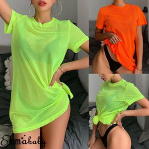 Cor sólida Casual Loose Tees Mulheres Néon Verde O Pescoço Malha Vintage Manga Curta Tshirt Top de Verão Longo Tshirts Beachwear