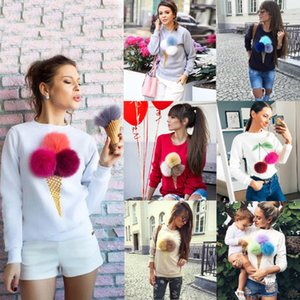 2017 Hot 7 Colors Cute ice cream plush ball Sweater Autumn and Winter basic Women Sexy Casual Long-sleeved Shirt Tops NX
