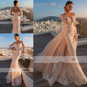 Gorgeous Appliques Mermaid Wedding Dresses with Detachable Train 2020 Scoop Neck Beaded Sashes Long Sleeve Vintage Lace Bridal Gowns