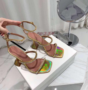 Perfect Official Quality Amina Shoes Genuine Leather Muaddi Heeled Sandal Woman Slingback Ankle Strap Open Toe Crystal Embellished Suede San