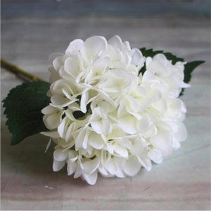 Party Supplies Artificial Hydrangea Flower Head 47cm Fake Silk Single Real Touch Hydrangeas 8 Colors for Wedding Centerpieces Home Flowers