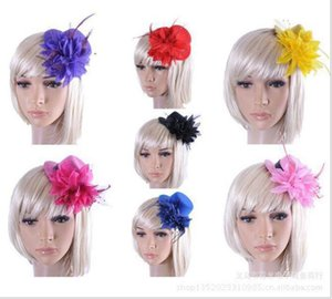 Перо шляпа свадебные ленты марлевые кружева перо цветок мини-шляпы фашинатор партия волос зажимы для волос Caps Homburg Millinery PS1755